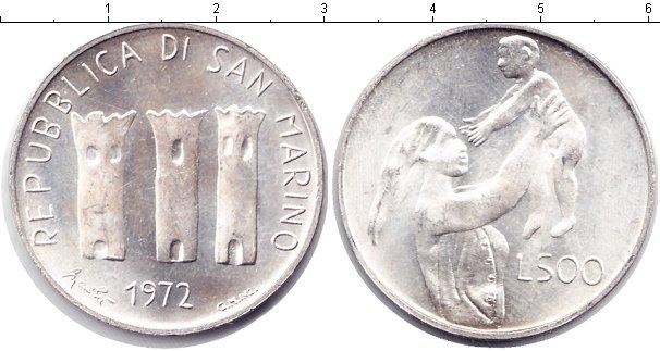 Картинка Монеты Сан-Марино 500 лир Серебро 1972