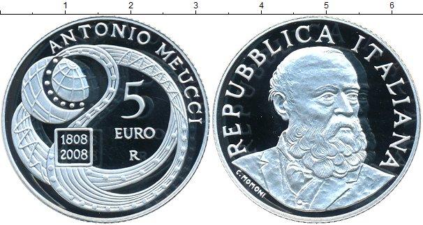 Картинка Монеты Италия 5 евро Серебро 2008