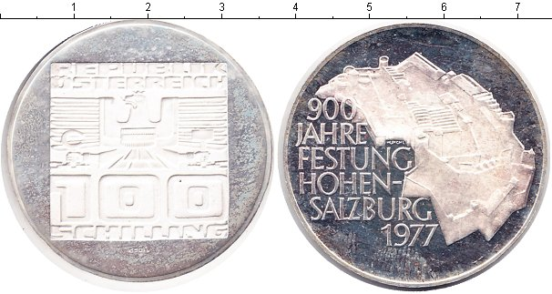 Картинка Монеты Австрия 100 шиллингов Серебро 1977