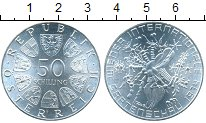 Изображение Монеты Австрия 50 шиллингов 1974 Серебро UNC Венское флористическ