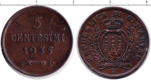 Картинка Монеты Сан-Марино 5 сентесим Медь 1935