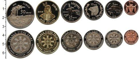 Изображение Наборы монет США Резервуация Пайн-Ридж, Оглала Сиу 2014 2014  UNC- В наборе 6 монет ном