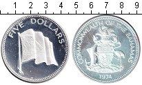 Изображение Монеты Багамские острова 5 долларов 1974 Серебро Proof- флаг