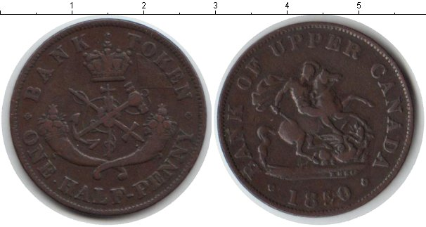 Картинка Монеты Канада 1/2 пенни Медь 1850