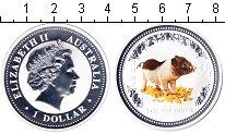 Изображение Монеты Австралия 1 доллар 2007 Серебро Proof- Год Кабана