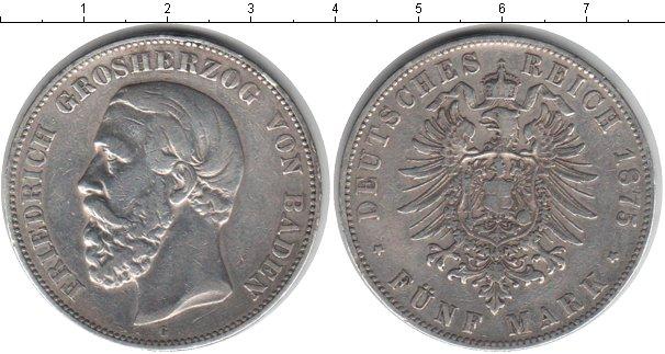 Картинка Монеты Баден 5 марок Серебро 1875