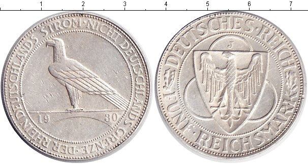 Картинка Монеты Веймарская республика 5 марок Серебро 1930
