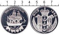 Изображение Монеты Ниуэ 10 долларов 1992 Серебро Proof `Корабль ``Резолюшн`