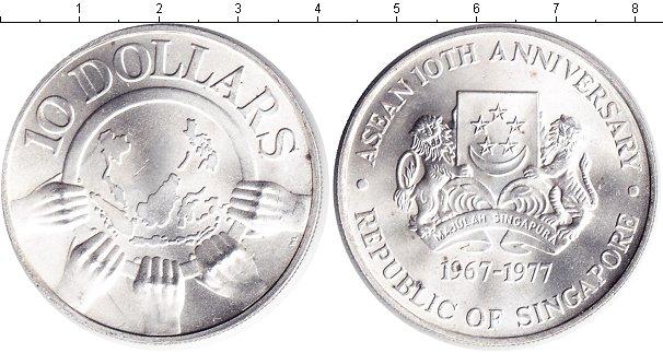 Картинка Монеты Сингапур 10 долларов Серебро 1977