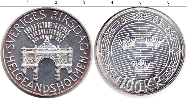 Картинка Монеты Швеция 100 крон Серебро 1983