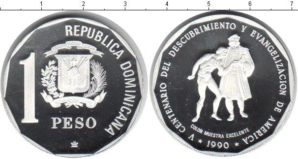 Картинка Монеты Доминиканская республика 1 песо Серебро 1990