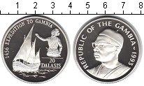 Изображение Монеты Гамбия 20 даласи 1993 Серебро Proof- Парусное судно