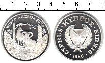 Изображение Монеты Кипр 1 фунт 1986 Серебро Proof Всемирный фонд дикой