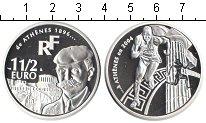 Изображение Монеты Франция 1 1/2 евро 2003 Серебро Proof От Афин 1896 до Афин