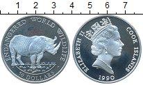 Изображение Монеты Острова Кука 50 долларов 1990 Серебро UNC- Носорог