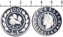Изображение Монеты Италия 1 лира 2001 Серебро