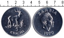 Изображение Монеты Замбия 5 квач 1979 Серебро UNC Сохранение животного