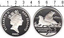 Изображение Монеты Новая Зеландия 5 долларов 1993 Серебро Proof- Елизавета II