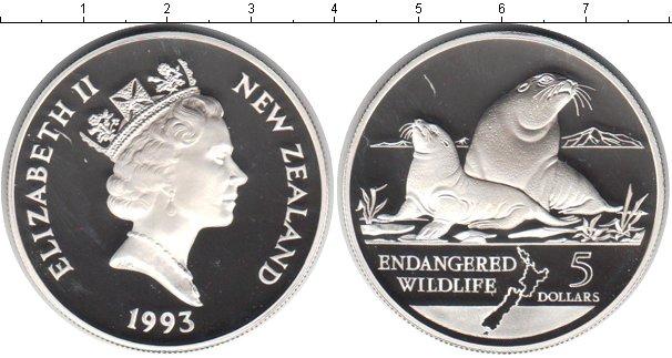 Картинка Монеты Новая Зеландия 5 долларов Серебро 1993