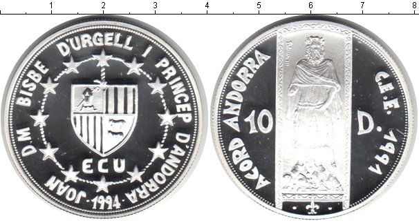Картинка Монеты Андорра 10 динерс Серебро 1994