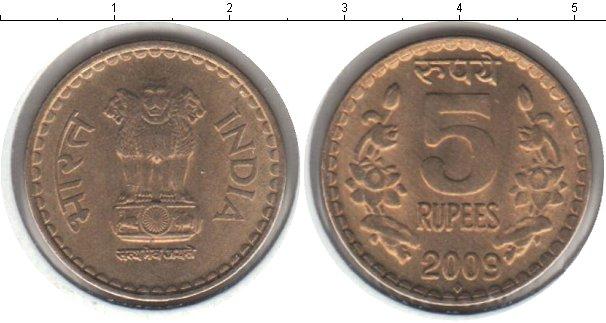 Картинка Мелочь Индия 5 рупий Медь 2009