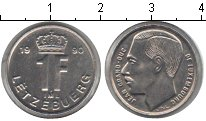 Изображение Мелочь Люксембург 1 франк 1990 Медно-никель UNC-