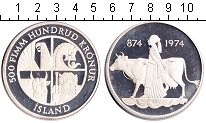 Изображение Монеты Исландия 500 крон 1974 Серебро Proof- Девушка с коровой