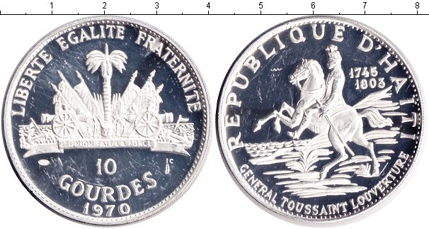 Картинка Монеты Гаити 10 гурдов Серебро 1970
