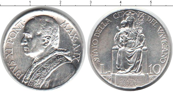 Картинка Монеты Ватикан 10 лир Серебро 1930