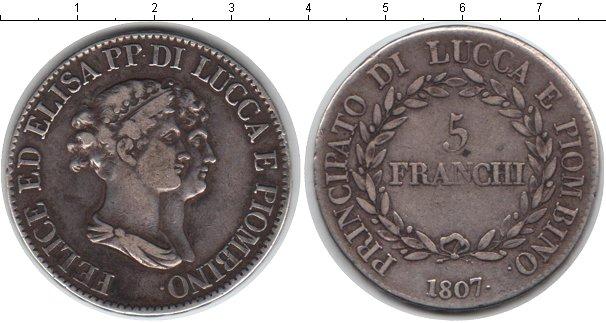Картинка Монеты Лукка 5 франков Серебро 1807