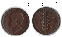 Изображение Монеты Италия 5 сентесим 1936 Медь XF