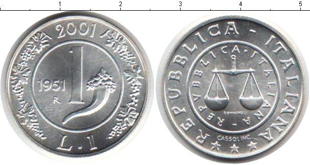 Картинка Монеты Италия 1 лира Серебро 1951