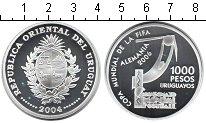 Изображение Монеты Уругвай 1000 песо 2004 Серебро Proof Чемпионат мира по фу