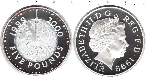 Картинка Монеты Великобритания 5 фунтов Серебро 1999
