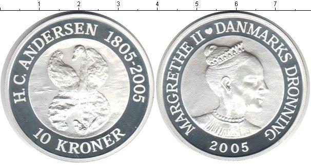 Картинка Монеты Дания 10 крон Серебро 2005