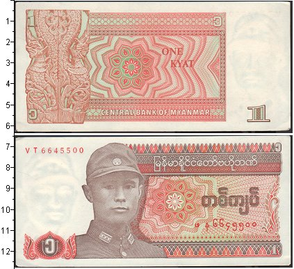 Картинка Банкноты Мьянма 1 кьят  0