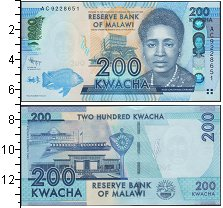 Изображение Банкноты Малави 200 квач 2013  UNC
