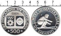 Изображение Монеты Югославия 500 динар 1982 Серебро Proof Зимняя олимпиада 198