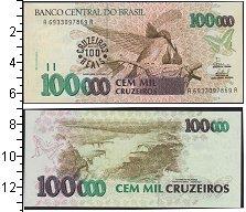 Изображение Банкноты Бразилия 100000 крузейро 0  UNC