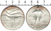 Изображение Монеты Финляндия 25 марок 1978 Серебро Proof Зимняя олимпиада в Л