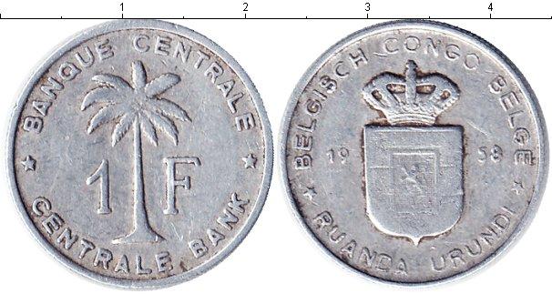 Картинка Монеты Бельгийское Конго 1 франк Алюминий 1958