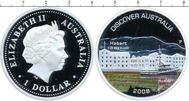 Картинка Монеты Австралия 1 доллар Серебро 2008