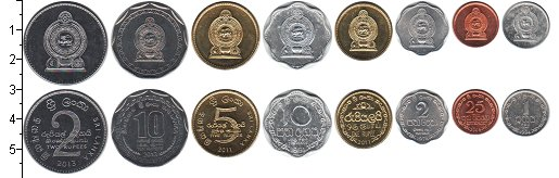 Изображение Наборы монет Шри-Ланка Шри-Ланка 1978-2013 0  XF В наборе 8 монет ном