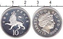 Изображение Монеты Великобритания 10 пенсов 2000 Серебро Proof- Елизавета II