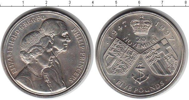 Картинка Монеты Великобритания 5 фунтов Медно-никель 1997