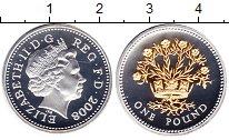 Изображение Монеты Великобритания 1 фунт 2008 Серебро Proof- Елизавета II. Лен в