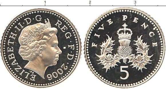 Картинка Монеты Великобритания 5 пенсов Серебро 2006