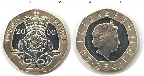 Картинка Монеты Великобритания 20 пенсов Серебро 2000