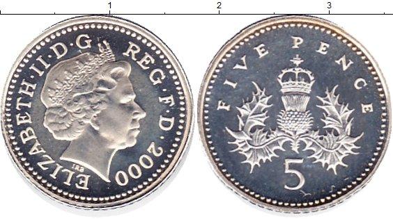Картинка Монеты Великобритания 5 пенсов Серебро 2000