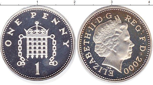 Картинка Монеты Великобритания 1 пенни Серебро 2000